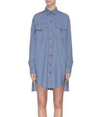 accordion pleat denim shirt dress