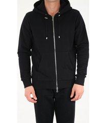 balmain black hoodie with zip