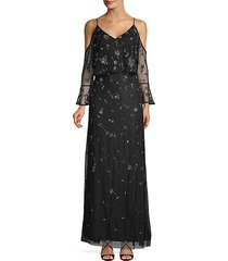 beaded cold shoulder gown