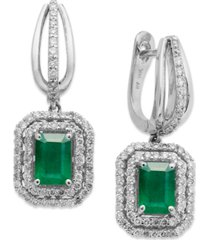 14k white gold earrings, emerald (2 ct. t.w.) and diamond (3/4 ct. t.w.) drop earrings