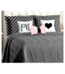 cobre leito preto matelado casal padrão 8 peças com porta travesseiro poá e almofadas decorativas