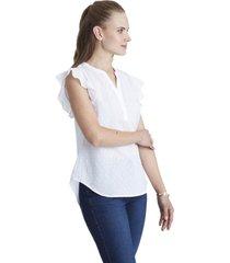 blusa manga con vuelos blanco curvi