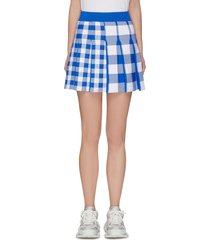 'barbara' pleated check panelled mini skirt