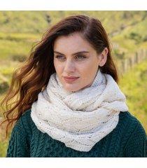 womens cream aran infinity scarf