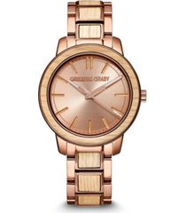 original grain women's reclaimed from whiskey barrel wood paired with espresso stainless steel bracelet watch 36mm