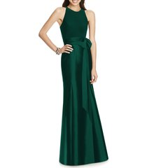 women's alfred sung jersey bodice mikado trumpet gown, size 2 - green