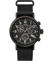 timex(r) standard chronograph textile strap watch, 41mm in black at nordstrom