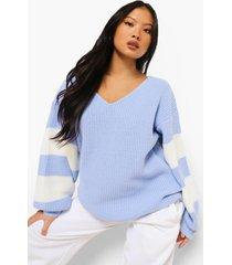 petite gestreepte trui met v-hals, hemelsblauw
