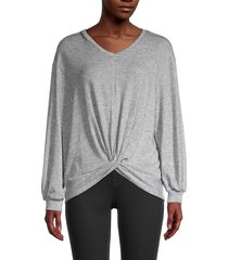 for the republic women's twist-hem v-neck top - grey heather - size l