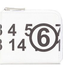 mm6 maison margiela logo print zipped wallet - white