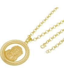 kit medalha face de cristo com corrente tudo jóias portuguesa folheado a ouro 18k