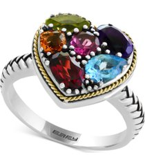 balissima by effy multi-gemstone two-tone heart ring (2-1/6 ct. t.w.) in sterling silver & 18k gold