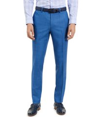 hugo men's slim-fit blue/black check suit pants, created for macy's