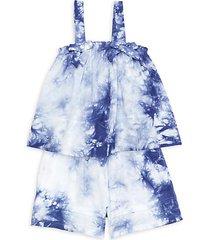 little girl's tie-dye tank & short 2-piece set