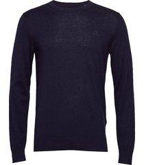 d1. cotton cashmere c-neck stickad tröja m. rund krage blå gant