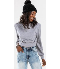 jaye shoulder pad cropped sweatshirt - heather gray