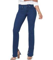 women's nydj marilyn side slit straight leg jeans, size 00 - blue