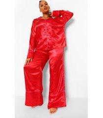 plus satijnen valentijns hartjes pyjama met knopen, red