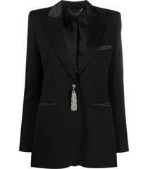 paco rabanne single-breasted chain tassel blazer - black