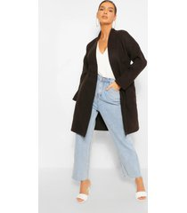 collarless pocket detail wool look coat, black