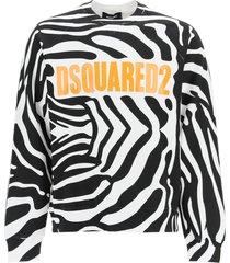 dsquared2 zebra print logo sweatshirt