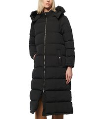 marc new york faux-fur-trim hooded puffer coat