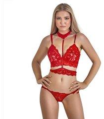 conjunto en encaje top, panty ajustable lencería dama – bésame-rojo
