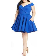 plus size women's mac duggal portrait collar skater dress, size 20w - blue