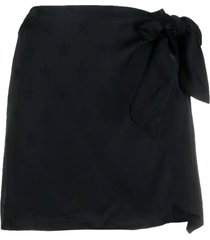 laneus black star-print wrap skirt