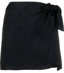 laneus black star-print wrap skirt