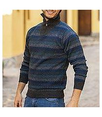 men's 100% alpaca sweater, 'gale force' (peru)