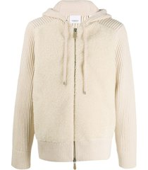 burberry rib-knit zipped hoodie - neutrals