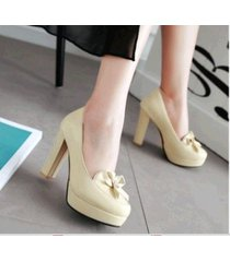 pp421 sweet bowtie pumps, square heels, pu leather , size 4-10, beige
