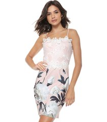 vestido lança perfume curto floral rosa