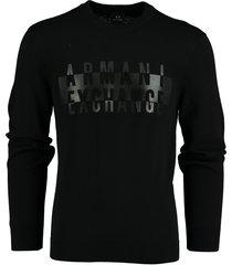armani exchange pullover zwart regular fit 6hzm2j.zmq7z/1200