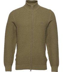 d1. cotton texture fullzip gebreide trui cardigan groen gant