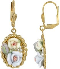 2028 women's gold tone blue and ivory porcelain flower drop earrings