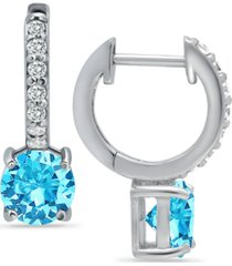 colored cubic zirconia huggie hoop earrings in sterling silver or 18k gold over silver (also available in lab created opal)