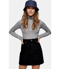 petite gray fine funnel neck knitted top - grey