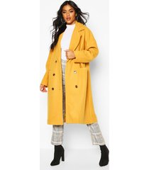 oversized boyfriend wool look coat, mustard