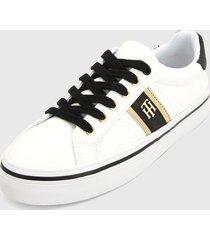 tenis blanco-negro-dorado tommy hilfiger