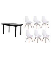 kit mesa de jantar frança 160x80 preta + 06 cadeiras charles eames - branca