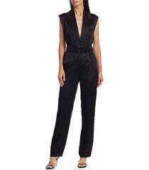 carolina ritzler women's belted tuxedo jumpsuit - black - size 38 (2)