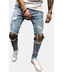 ginocchio hip-hop big hole skinny fashion jeans per uomo
