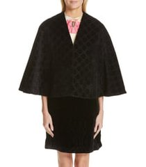 women's gucci intrigues gg velvet cape, size one size - black