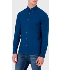 camisa calvin klein jeans oxford solid slim non stretch azul - calce stretch