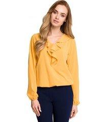 blouse style s104 blouse met ruche accenten - geel