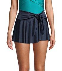tie-front satin mini skirt
