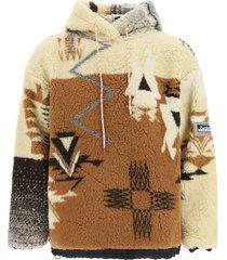 aries patchwork sweatshirt with hoodie