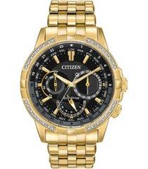citizen eco-drive men's calendrier diamond-accent gold-tone stainless steel bracelet watch 44mm